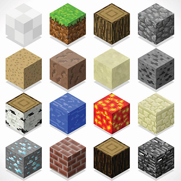 illustrations, cliparts, dessins animés et icônes de mine de cubes 4 éléments isométrique - starting block