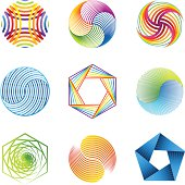 Collection of abstract graphic design elements. (nine modern striped elements).