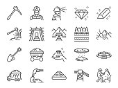 Mine icon set. Included the icons as mining, worker, labor, coal, underground, digging, track, rail and more.