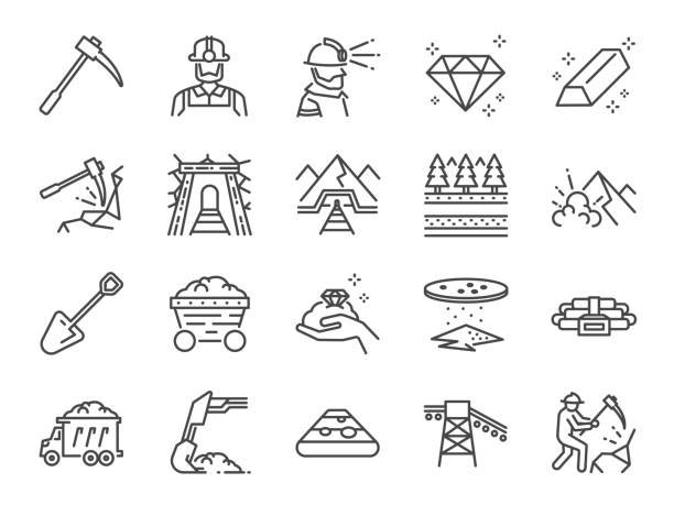 Mine icon set. Included the icons as mining, worker, labor, coal, underground, digging, track, rail and more. Mine icon set. Included the icons as mining, worker, labor, coal, underground, digging, track, rail and more. mining natural resources stock illustrations