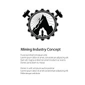 Miner is Holding Pickaxe in the Bowels of the Mountain on a Background of the Sunburst in a Gear with Crossed Hammer and Sledgehammer and Text , Mining Industry, Poster Flyer Brochure Design
