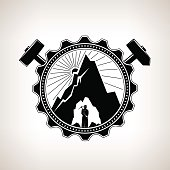 Miner in the Helmet is Holding Pickaxe in the Bowels of the Mountain on a Background of the Sunburst in a Gear with Crossed Hammer and Sledgehammer , Vintage Emblem of the Mining Industry