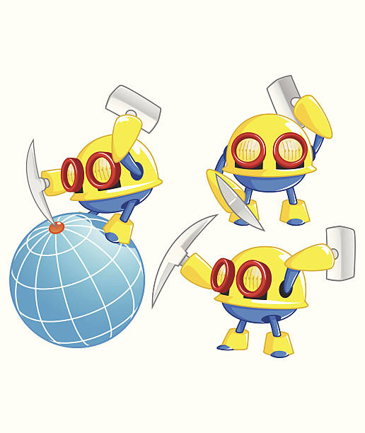 miner robot vector art illustration