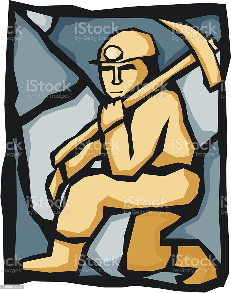 Miner with a Pickaxe number 1 vector art illustration
