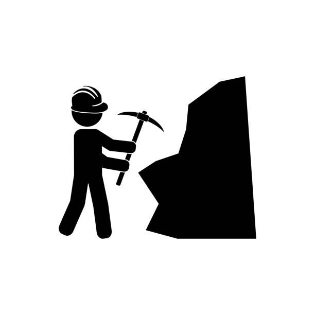 illustrations, cliparts, dessins animés et icônes de mineur avec le casque utilisant la pioche ou la hache de pioche pour frapper la roche, icône de vecteur de travailleur de mine - man axe wood