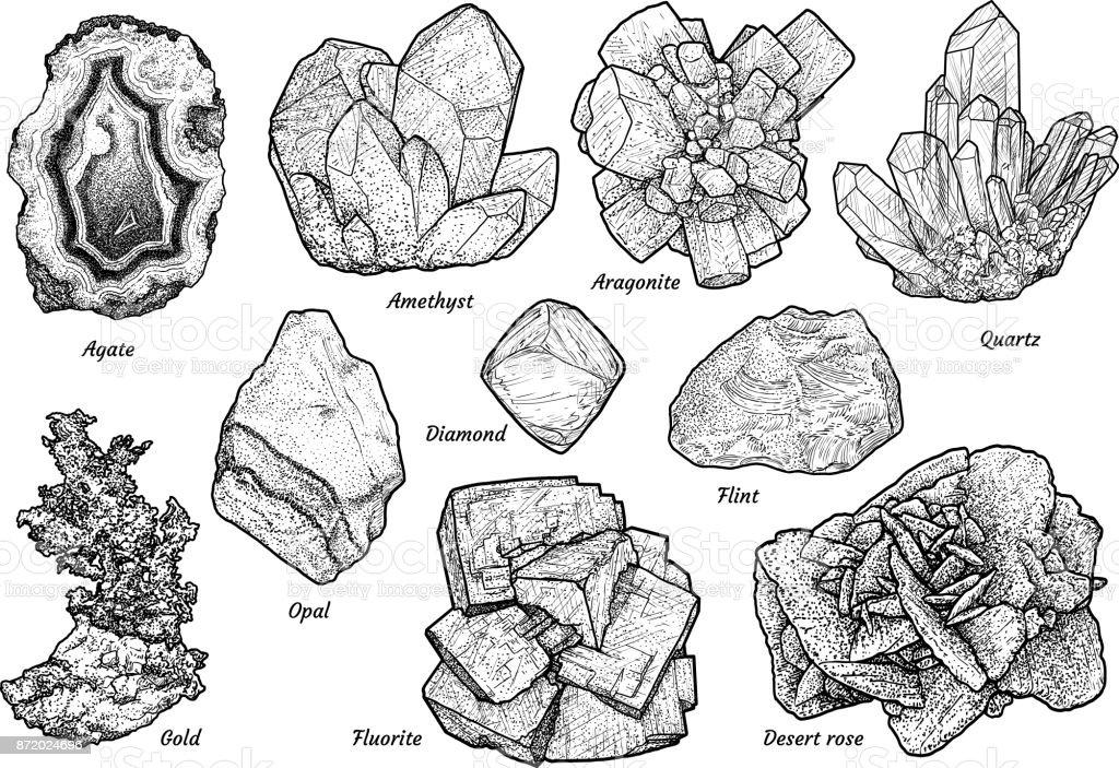 Mineral collection illustration, drawing, engraving, ink, line art, vector vector art illustration