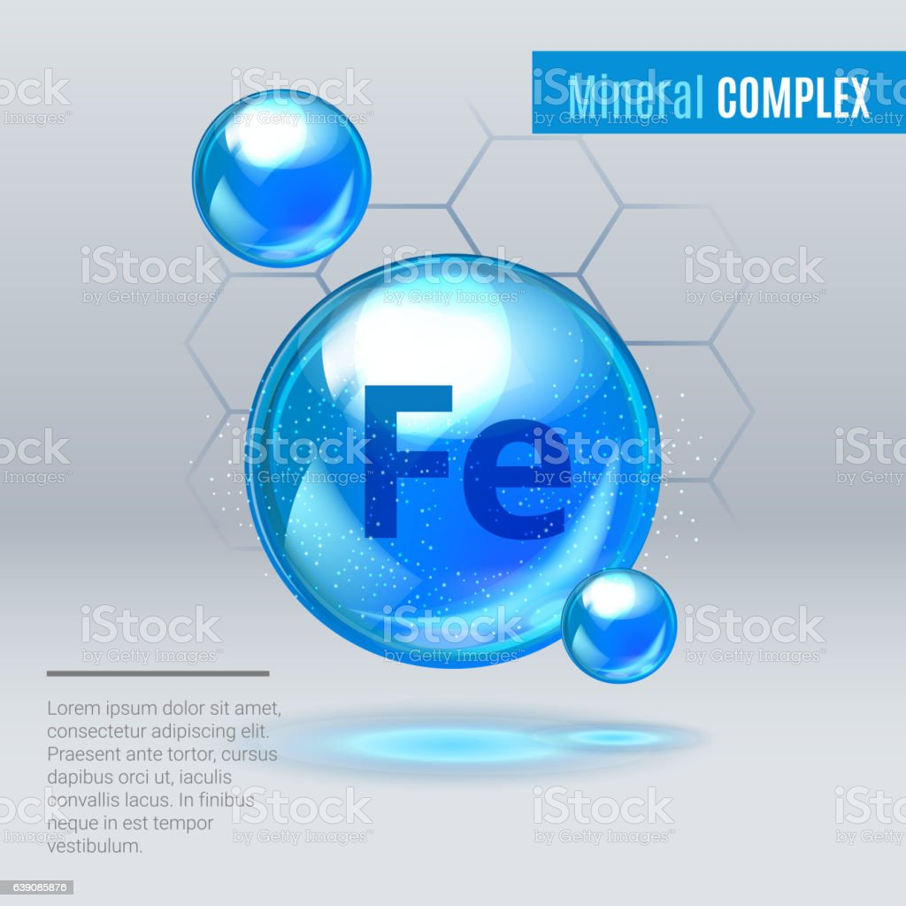 Mineral Fe Ferum blue shining pill capcule icon vector art illustration