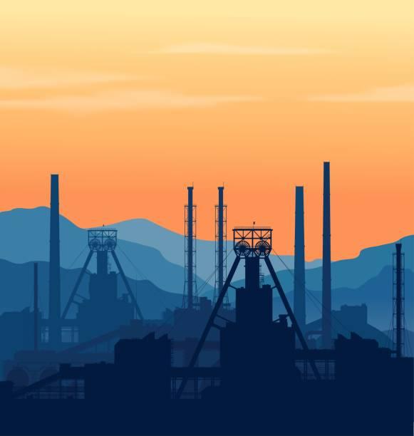 bildbanksillustrationer, clip art samt tecknat material och ikoner med mineral gödsel anläggning över stora berg. - mining
