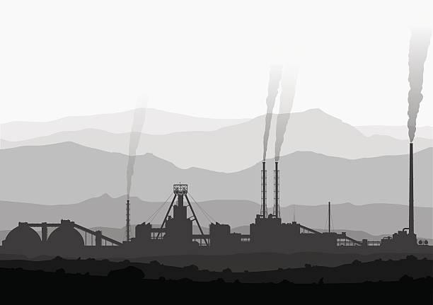 bildbanksillustrationer, clip art samt tecknat material och ikoner med mineral fertilizers plant over huge mountains. - mining
