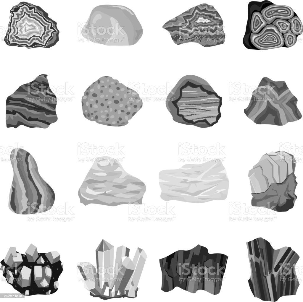 Mineral stone vector set. vector art illustration