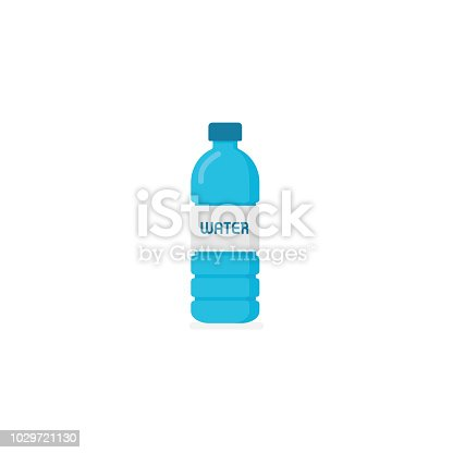 Flat design of bottled water