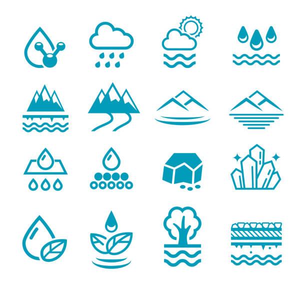 mineralwasser-symbol. grundwasser aus dem natürlichen filter-prozess. - mineral stock-grafiken, -clipart, -cartoons und -symbole