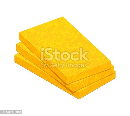 Mineral wool flat vector icon. Stack of fiberglass insulation material isolated on white background. Vector illustration rock wool insulator for heat cold protection. 3D cartoon glass wool boards icon