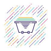 Line vector illustration of mining cart.