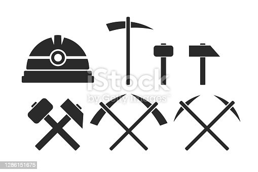 Miners tools. Helmet, hammer, pickaxe. Simple icon set. Flat style element for graphic design. Vector EPS10 illustration