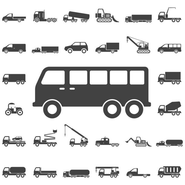 stockillustraties, clipart, cartoons en iconen met mini bus pictogram - peregrina