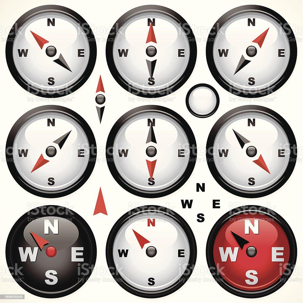 Mini Compass vector art illustration