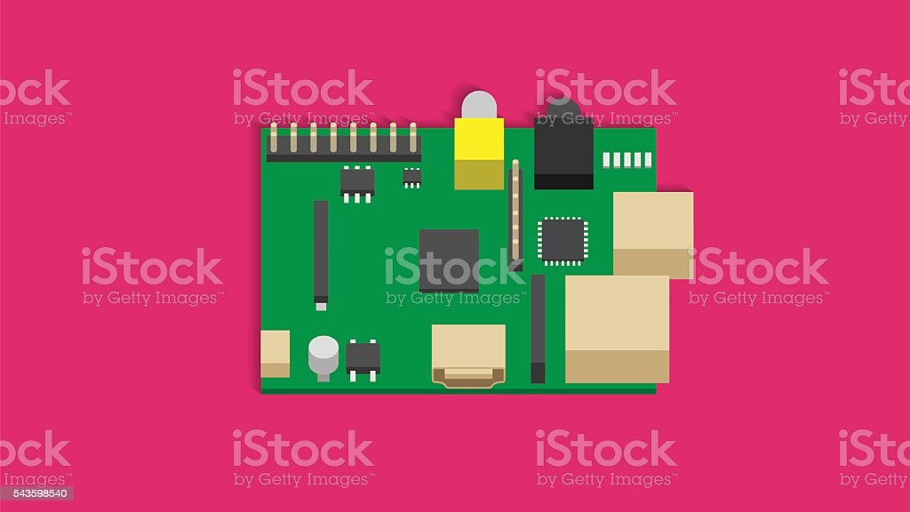 Mini Computer Board vector art illustration