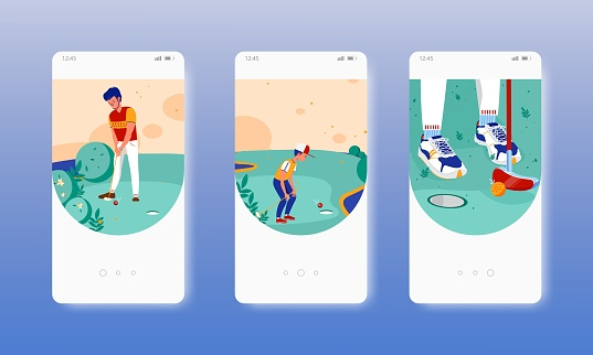Mini golf. Family sports golf course. Mobile app screens, vector website banner template. UI, web site design.