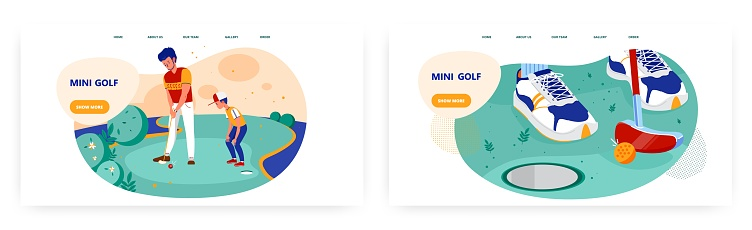 Mini golf landing page design, website banner vector template set. Father teaching his son to play golf. Family leisure.