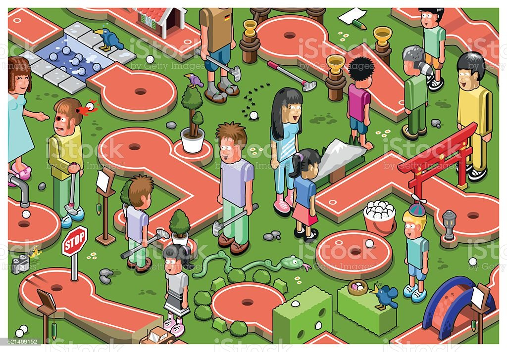 Minigolf mayhem vector art illustration