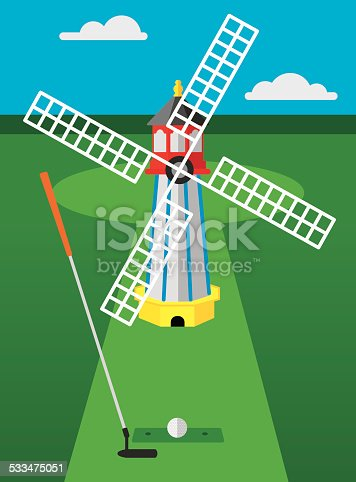 Vector illustration of a golf club and golf ball in front of a windmill on a mini golf course.