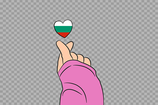 Mini heart sign with Bulgaria flag heart shape isolated on png or transparent  background, Symbols of Bulgaria,template for banner,advertising,vector,top gold medal winner sport country