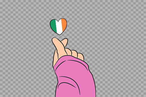 Mini heart sign with Ireland flag heart shape isolated on png or transparent  background, Symbols of Ireland,template for banner,advertising,vector,top gold medal winner sport country