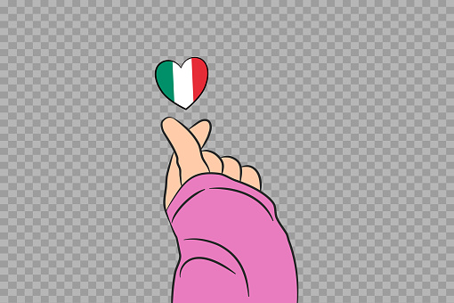 Mini heart sign with Italy flag heart shape isolated on png or transparent  background, Symbols of Italy,template for banner,card,advertising,vector,top gold medal winner sport country
