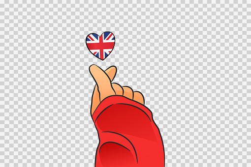 Mini heart sign with UK heart shape isolated on png or transparent  background, Symbols of United Kingdom,Great Britain, template for banner,card,advertising ,promote,ads, web design, magazine,vector
