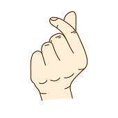 """Mini Heart - Using the thumb and index finger cross to convey the meaning that """"I Love You"""""""