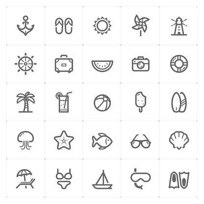 Mini Icon set - Beach icon vector illustration