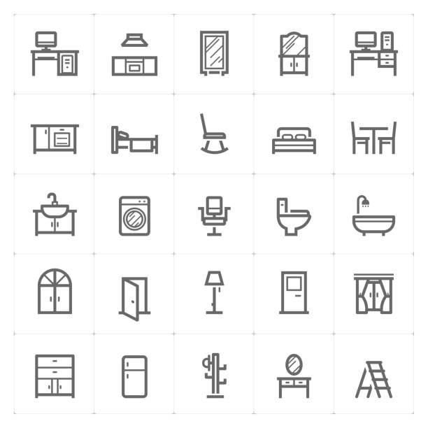 Mini Icon set – Furniture icon vector illustration vector art illustration