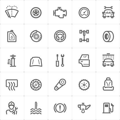 Mini Icon Set Garage And Auto Part Icon Vector