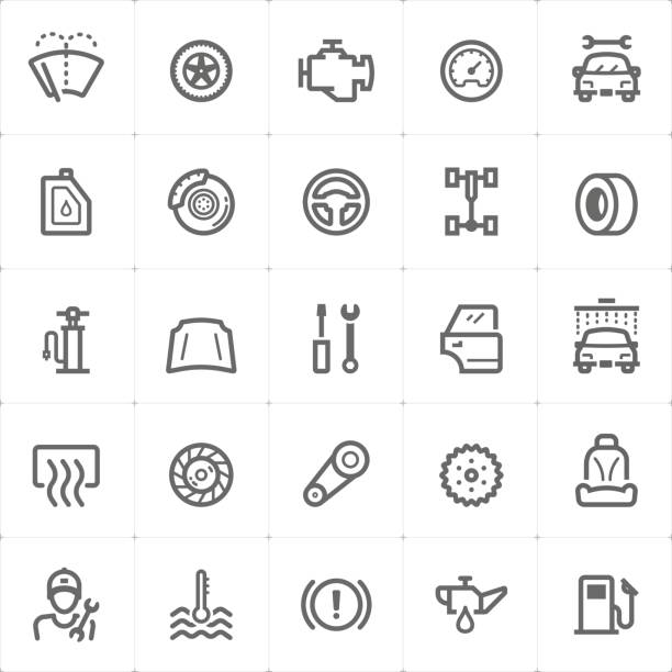 mini icon set - garage and auto part icon vector illustration - mechanic stock illustrations, clip art, cartoons, & icons