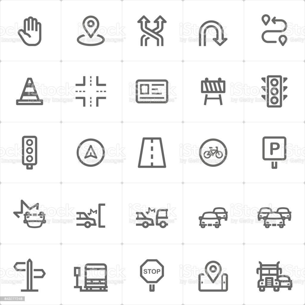 Mini Icon set - traffic icon vector illustration