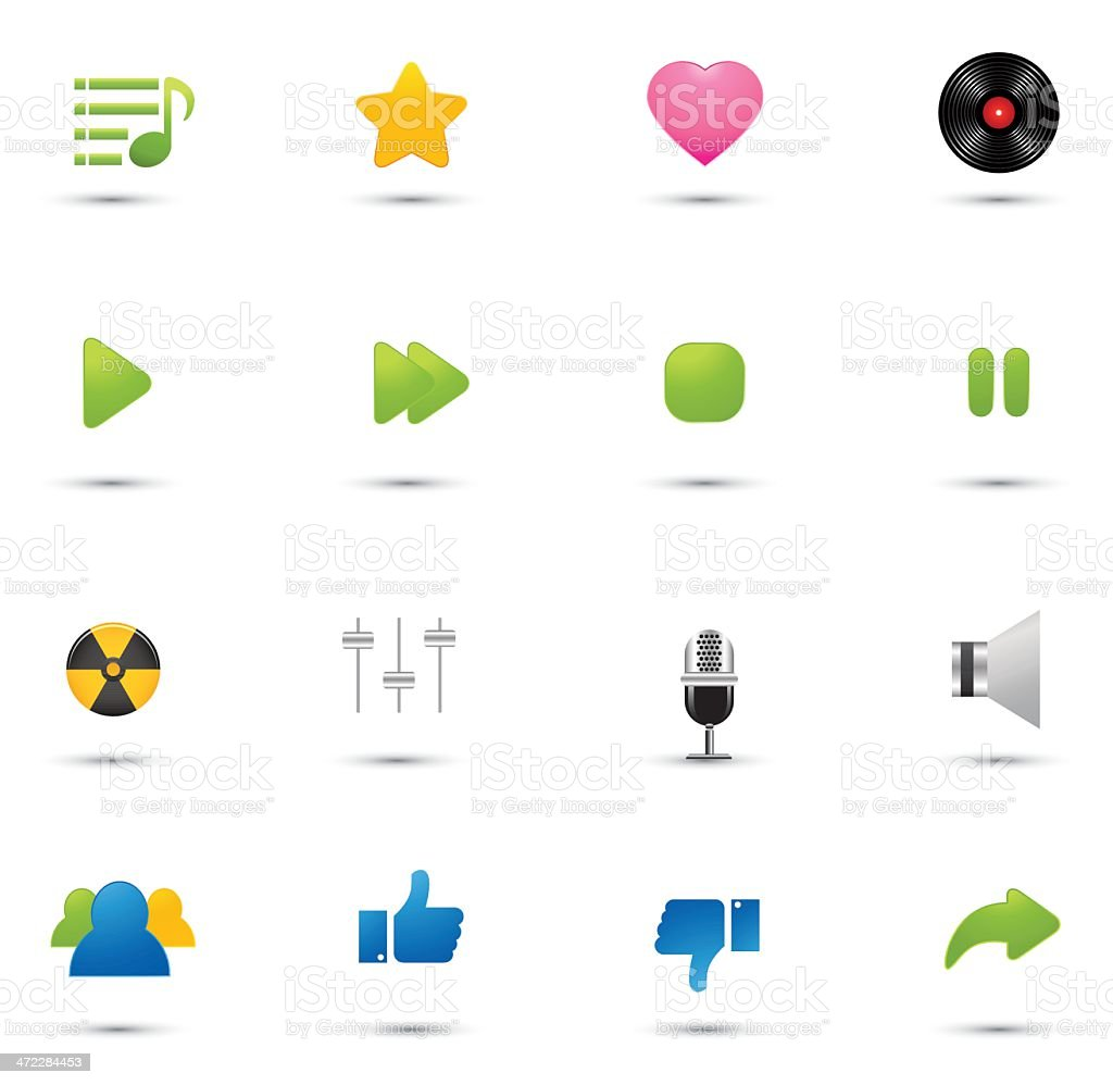 Mini Icons: Music and Sound royalty-free stock vector art