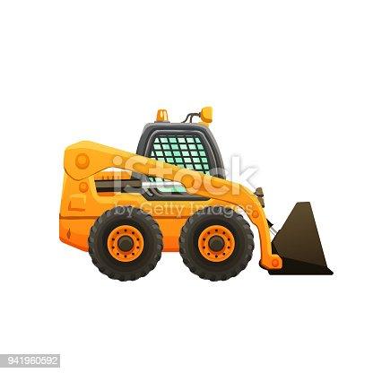 Mini loader vector cartoon isolated illustration. Construction equipment.