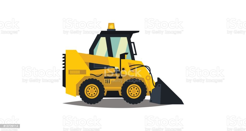 Mini loader. Yellow, flat style. Commercial Vehicles. Special equipment. Vector illustration. Flat style vector art illustration
