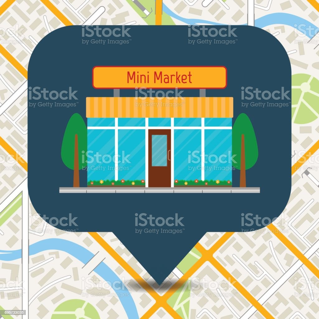 Mini Market Icon On City Map Small Shop Or Store Building On