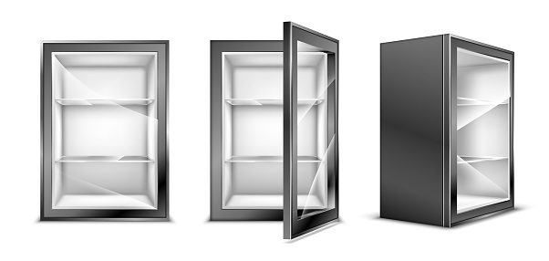 Mini refrigerator for beverages, empty gray fridge