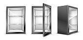 istock Mini refrigerator for beverages, empty gray fridge 1244926669