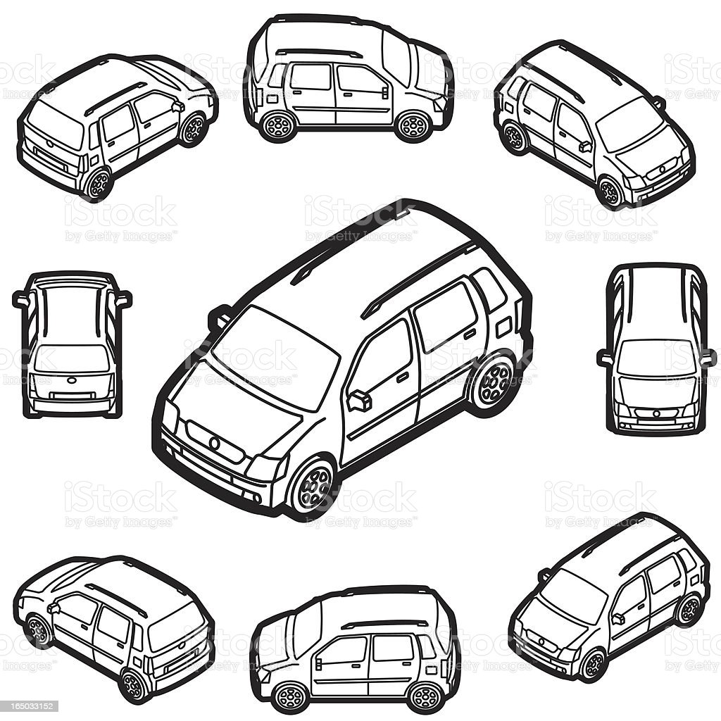 mini wagon 4 door car illustrator royalty-free stock vector art