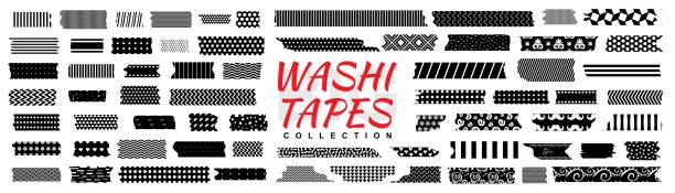 Mini washi tape strips, washy tape ordecorative adhesive strips Mini washi tape strips or washy tape icons. Collection of decorative adhesive strips or masking tape isolated on white background masking tape stock illustrations