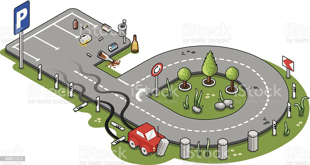 Miniature car drunk drive crash - Don't drink and drive vector art illustration