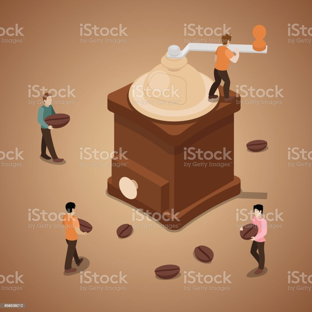 Miniature People Grinding Coffee Beans in Machine vector art illustration