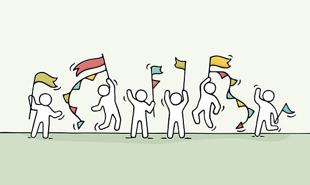 miniature scene of workers with flags. - Illustration vectorielle