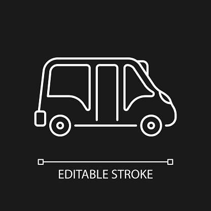 Minibus white linear icon for dark theme