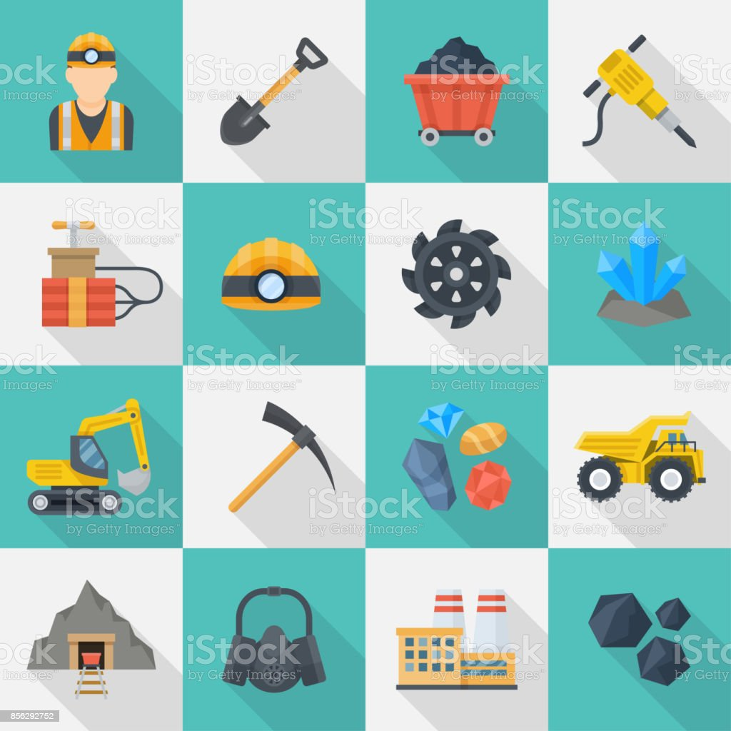 Minig industry icon cartoon set royalty-free minig industry icon cartoon set stock illustration - download image now