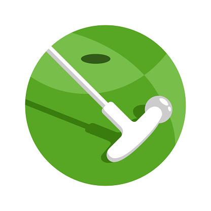 Minigolf logo - golf stick and ball on grass field